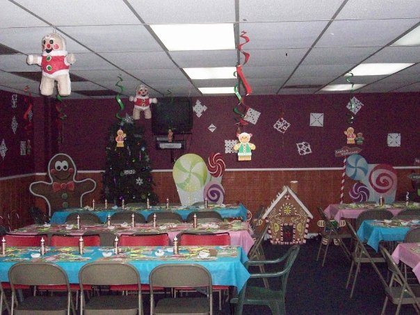 Party Room with Santa Hanging Decor
