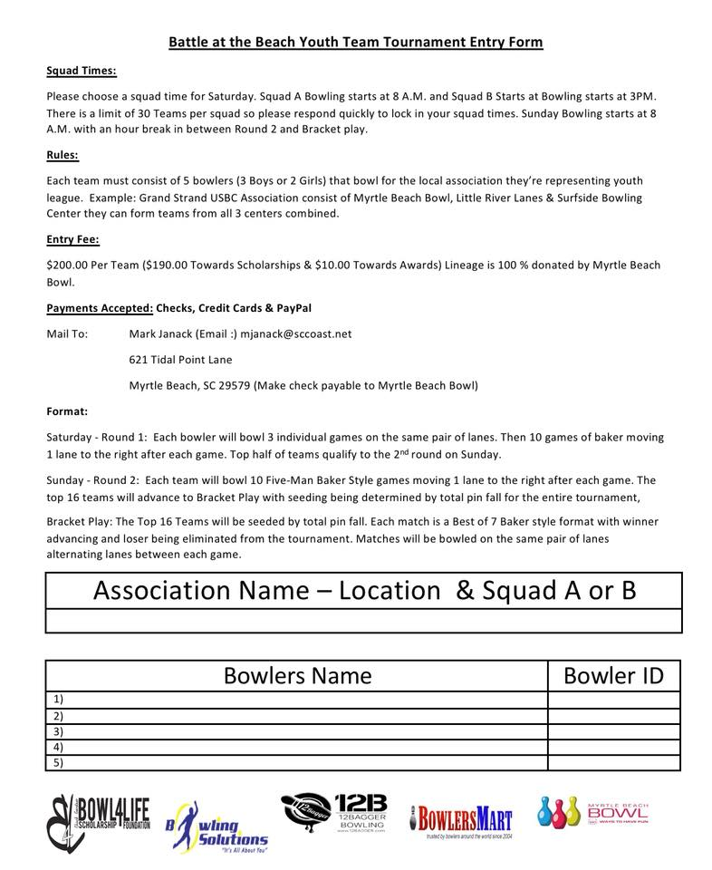 Battle at the Beach Entry Form